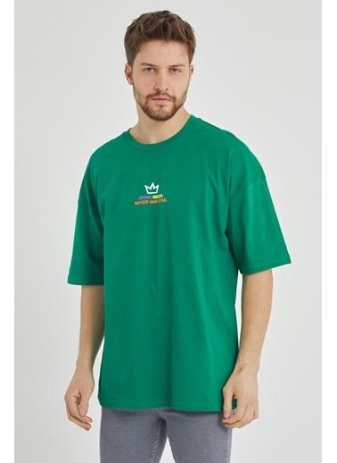 XHAN Yeşil Önür & Arkası Baskılı Oversize T-Shirt 1Kxe1-44650-08 Yeşil